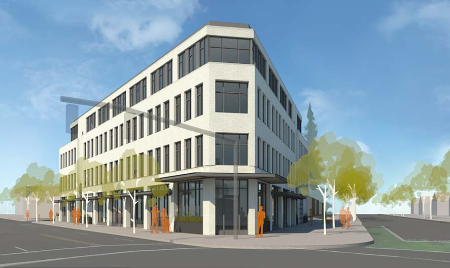 Architectural rendering of Seven corners Community Collaborative building.